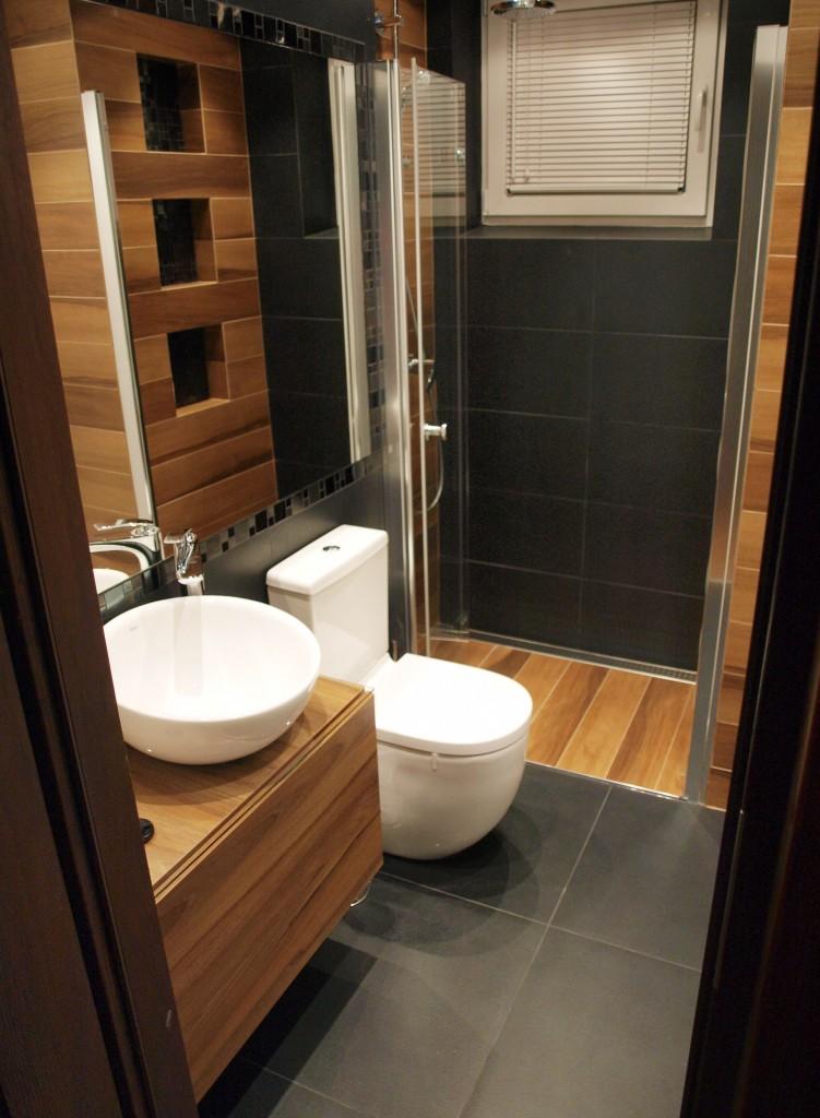 Zdjęcie 310 W Aranżacji łazienka Czerń Biel I Drewno