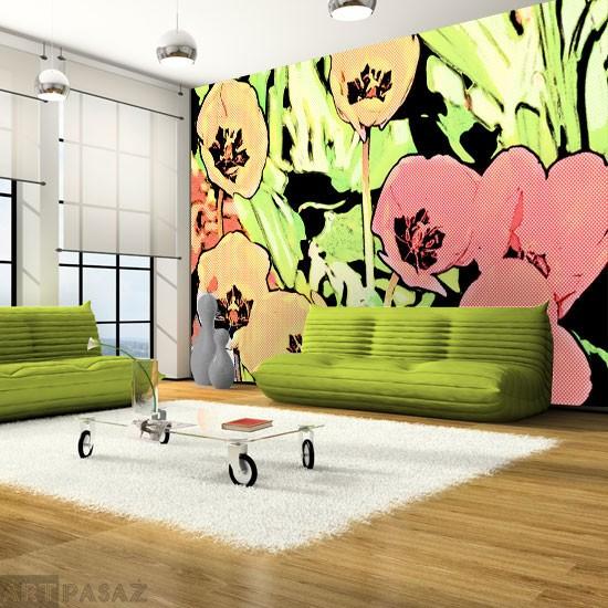 Pozostałe, fototapety kwiaty - fototapeta tulipany w pop-art