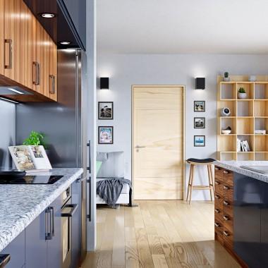 Pozornie zimne wnęrze kuchni, przełamane drewnianymi elemantami w postaci szafek oraz rantów mebli zdaje się być idealnym uzupełnieniem domu każdego praktycznego właściciela.Okap w tym wydaniu jest praktycznie niewidoczny (zaleta okapów do zabudowy!), dając pierwszeństwo w ekspozycji pięknym, metalicznym meblom.