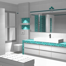 turkusowa, fioletowa łazienka