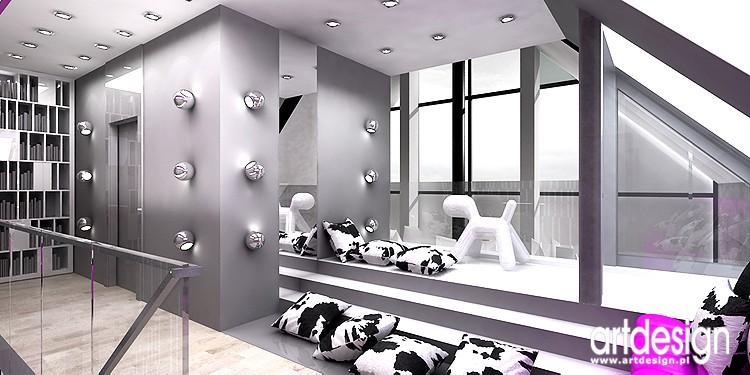 Pozostałe, designerskie wnetrze domu - projekty wnętrz holu na piętrze