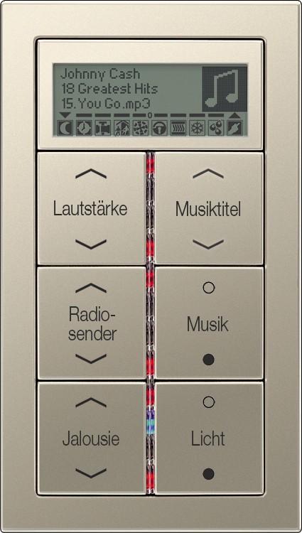 Instalacje, Inteligentny dom KNX - Panel z 6-cioma przyciskami z wygrawerowanymi przykładowymi napisami i symbolami, diodami sygnalizacyjnymi, wyświetlaczem LCD, ze stali. Tutaj między innymi do wybierania źródła muzyki oraz sterowania żaluzjami i oświetleniem.