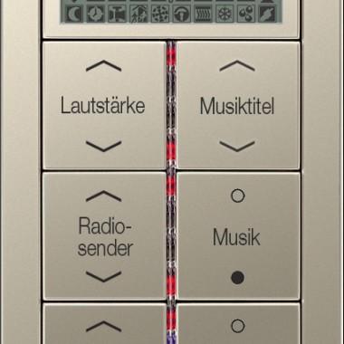 Panel z 6-cioma przyciskami z wygrawerowanymi przykładowymi napisami i symbolami, diodami sygnalizacyjnymi, wyświetlaczem LCD, ze stali. Tutaj między innymi do wybierania źródła muzyki oraz sterowania żaluzjami i oświetleniem.
