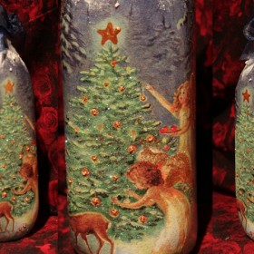 Kolejne zimowe butelki decoupage