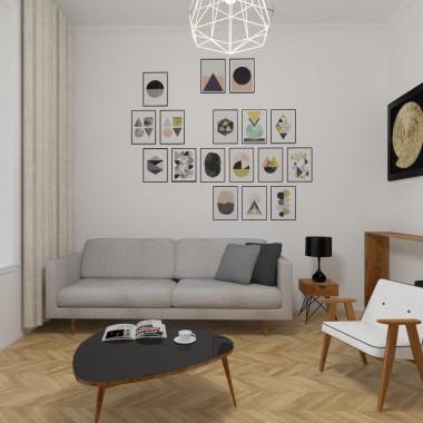 Wizualizacje salonu - wnętrze kamienicy