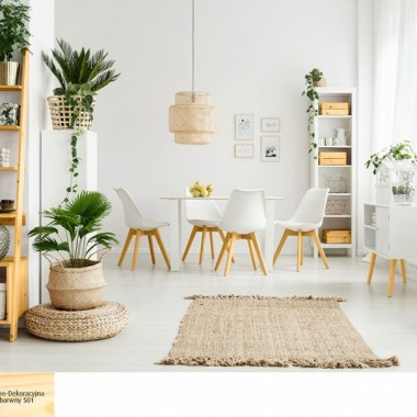 W naszej kuchni połączonej z jadalnią znajdziesz kilka naturalnych odcieni drewna, od ciemnego po jasne tony oraz drewno pomalowane na biało. Biała boazeria, sztukaterie i zabudowa kuchenna spójnie łączą się z drewnianą podłogą, meblami i skórą obiciową foteli.Białe krzesła, komody ocieplone drewnianym wykończeniem. Dodatki z naturalnych materiałów jak wiklina, czy len idealnie wpiszą się w skandynawską wizję salonu.  Do tego zieleń doniczkowych roślin.Drewno świetnie odnajduje się wśród innych naturalnych surowców, jak skóry, liny konopne, len, wiklina, glina czy kamienie.