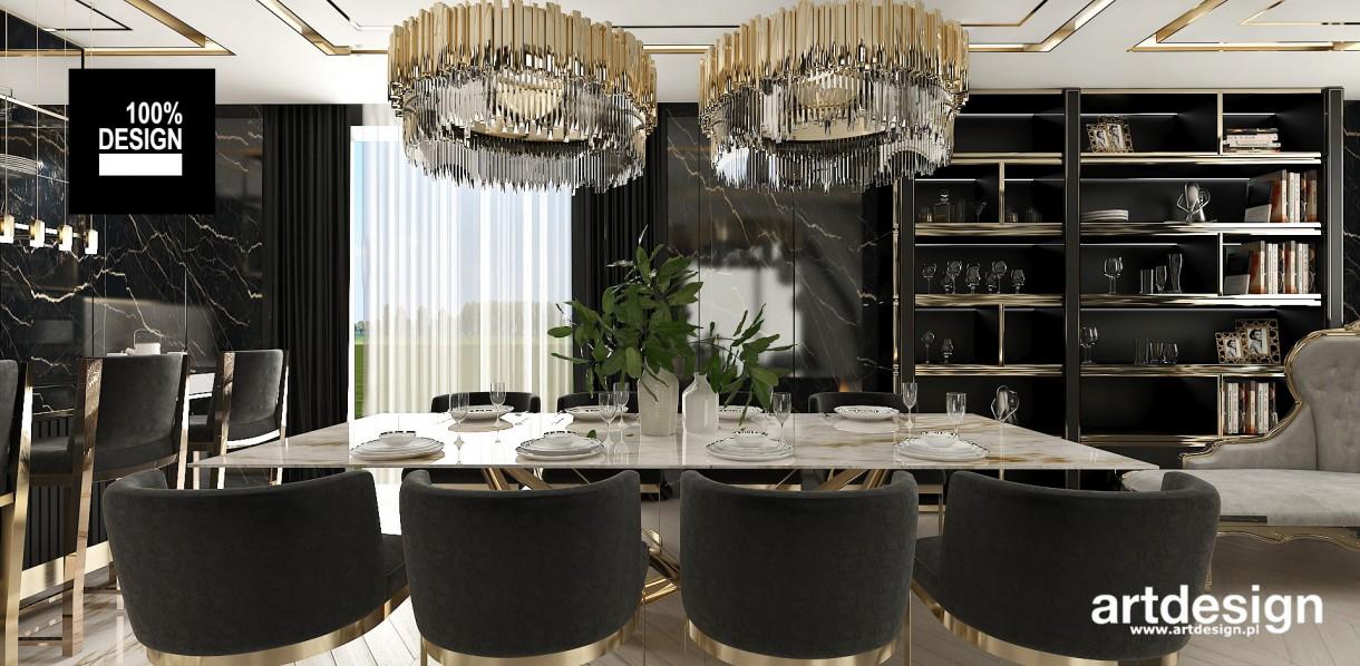 Salon, Wytworna czerń ze złotymi akcentami | TAILOR-MADE HOME - Wnętrze domu, chociaż zaprojektowane w dość ciemnych kolorach, jest pełne jasnych refleksów. Powierzchnie w połysku, duże lustra i dekoracyjne detale odbijają światło i dodają lekkości. Głęboka czerń w połączeniu z akcentami złota i srebra kojarzy się z wyrafinowaną elegancją.