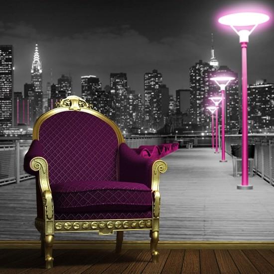 Pozostałe, Dekoracje z Nowym Jorkiem - Czarno-biała fototapeta z widokiem na Nowy Jork - główną ozdobą tej dekoracji są wyróżniające się, różowe latarnie.