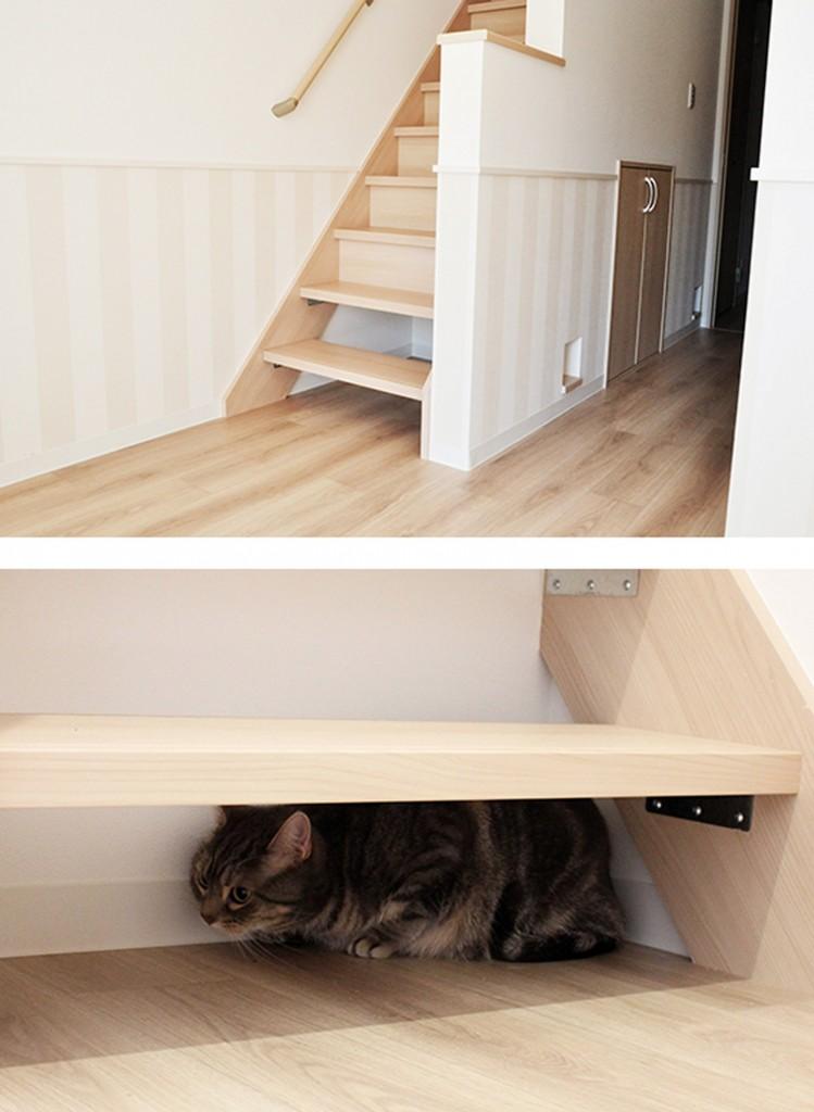 Domy i mieszkania, Apartament dla miłośników kotów - Schody w budynku zaprojektowano w ten sposób, by przestrzenie między nimi mogły spełniać funkcje wygodnych dla kocich milusińskich kryjówek.  fot. Wada Kosan / Felissimo/Ferrari Press/East News