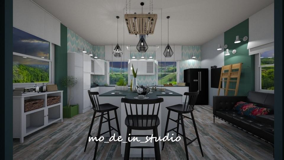 Kuchnia, Dom na Wsi - Kuchnia i Jadalnia - Duży dom - duża kuchnia i jadalnia można poszaleć, ale trzeba uważać żeby nie przesadzić z nadmiarem mebli, kombinacją kolorów i mieszaniną stylów. Moja inwestorka lubi jasne pomieszczenia pod warunkiem że widoczny jest akcent kolorystyczny podkreślający i dopełniający całość aranżacji. Oto mój pomysł na aranżację wnętrz inwestorki,jak Wam się podoba?