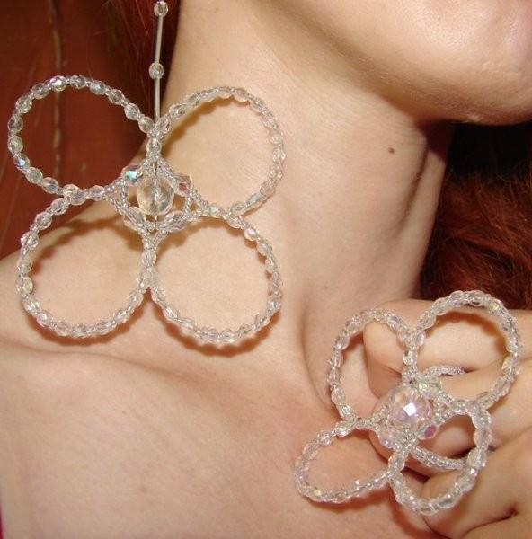 Pozostałe, biżuteria z filcu - zestaw ze szkła szlifowanego crystalAB