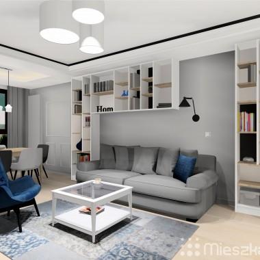 Projekt wnętrza przedpokoju, kuchni i salonu