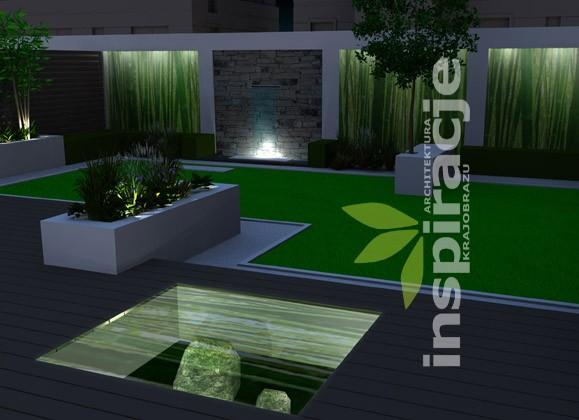 Pozostałe, NOWOCZESNY OGRÓD - Ogród nowoczesny - sceneria nocna. Podświetlone zostały ekrany ze szkła, wgłębnik z kamiennym ogrodem, element wodny oraz grupy nasadzeń roślinnych.