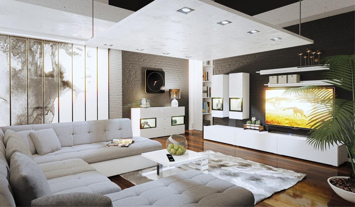 Salon, Aranżacja szarego salonu - Nowoczesny salon - ten wystrój pomieszczenia może się pojawiać także w wersji dla rodziny. Warto wtedy pomyśleć o praktycznym podziale wnętrza na strefę relaksu – z dużym narożnikiem i stolikiem kawowym.Współczesny szary salon wcale nie musi być nudny. Oczywiście, jeśli tylko dobrze dobierzemy dodatki, a także kolory.
