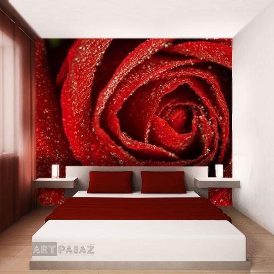 Pozostałe, fototapety kwiaty - Fototapeta przestrzenna z czerwoną różą