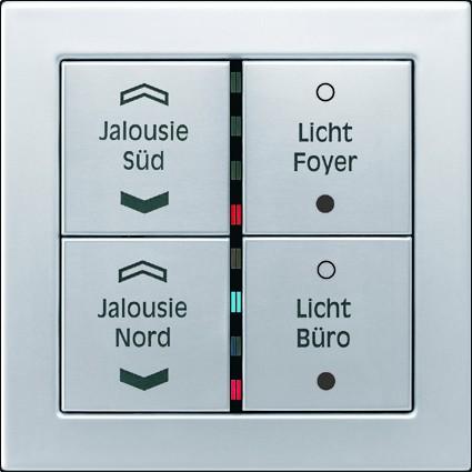 Instalacje, Inteligentny dom KNX - Panel z czterema przyciskami z przykładowym nadrukiem, diodami sygnalizacyjnymi, z aluminium.
