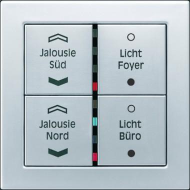 Panel z czterema przyciskami z przykładowym nadrukiem, diodami sygnalizacyjnymi, z aluminium.