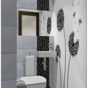 Toaleta z fototapetą