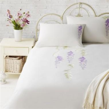 Angielska pościel Nimbus Haftowane fioletowe kwiaty wisterii