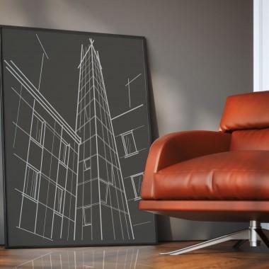plakat z minimalistyczną architekturą miasta