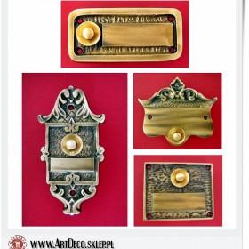 Mosiężne wizytówki z przyciskiem dzwonkowym