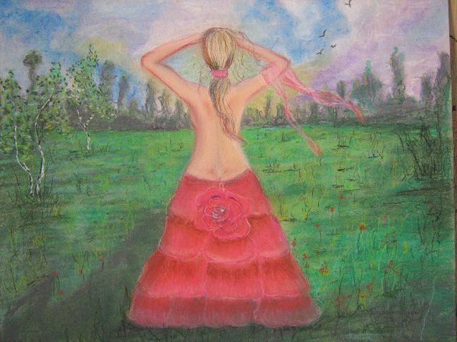 Pozostałe, Trochę zmianek.. - pastela &#x3B;]Kobieta w różach..zobaczyłam na wystawie jakiejś galerii...pobiegłam do domu i namalowałam to co zapamiętałam &#x3B;]]