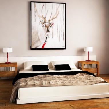 sypialnia, styl skandynawski, drewno, stal