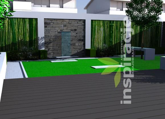Pozostałe, NOWOCZESNY OGRÓD - Ogród nowoczesny - widok na element wodny, zaprojektowany na osi kompozycji.