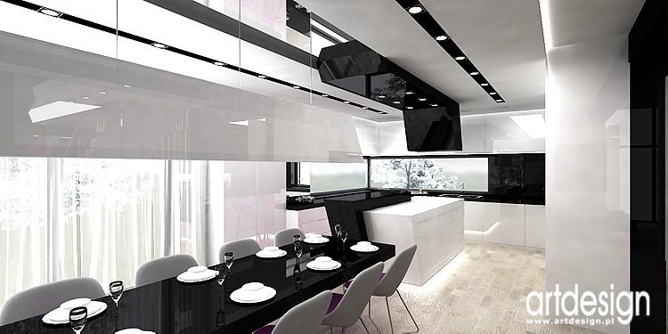 Pozostałe, designerskie wnetrze domu - czerń i biel we wnętrzu kuchni