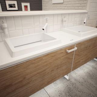 Nowoczesna łazienka - umywalki podwójne z szafką na wymiar