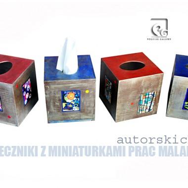 CHUSTECZNIKI na zamówienie z miniaturkami prac malarskich