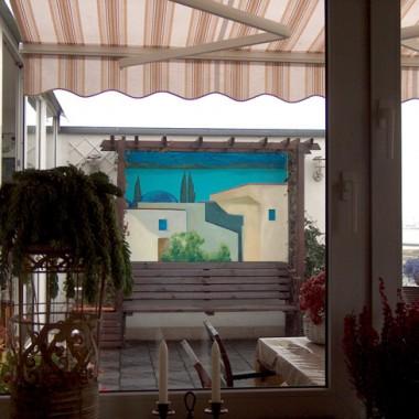 """Przenośne, dwustronne,  malowidło na tynku """"Tęsknota za Grecją"""", 120x180 cm"""