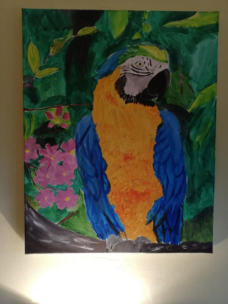 Pozostałe, Pozostałe - Ara namalowana w ubiegłym roku, wnuczka miała 13 lat:)