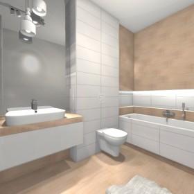 Ciepłe brązy w białej łazience