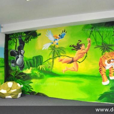 artystyczne malowanie ścian, malowidła ścienne, malunki na ścianie, pokój dziecięcy, pokój dla dziecka, pokój dla dziewczynki, pokój dla chłopca, dekoracja ścian, Dżungla