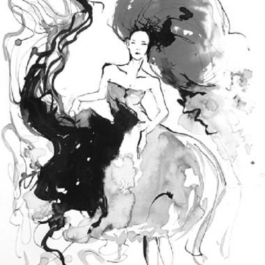 """Obraz na płótnie """"Flowing gown in black"""