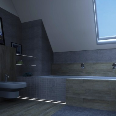 Łazienka z drewnianym akcentem...