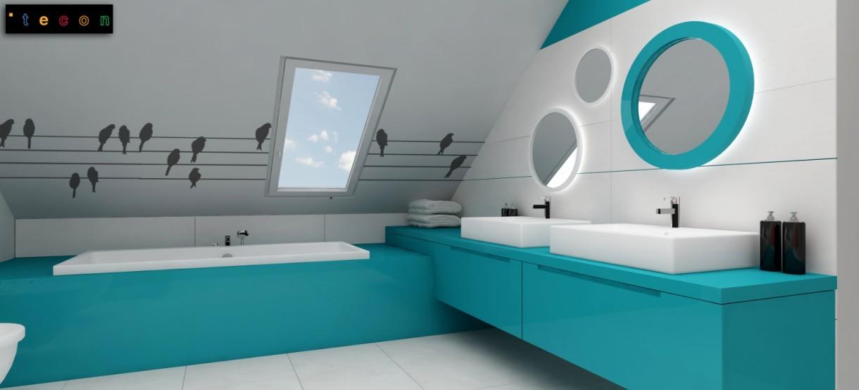 Zdjęcie 23 W Aranżacji Turkusowa łazienka Dla Dziecka