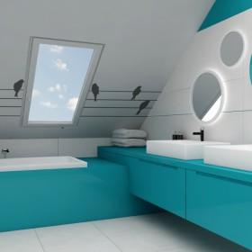 Turkusowa łazienka dla dziecka
