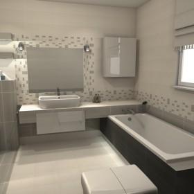 Łazienka , płytki opoczno organza szara