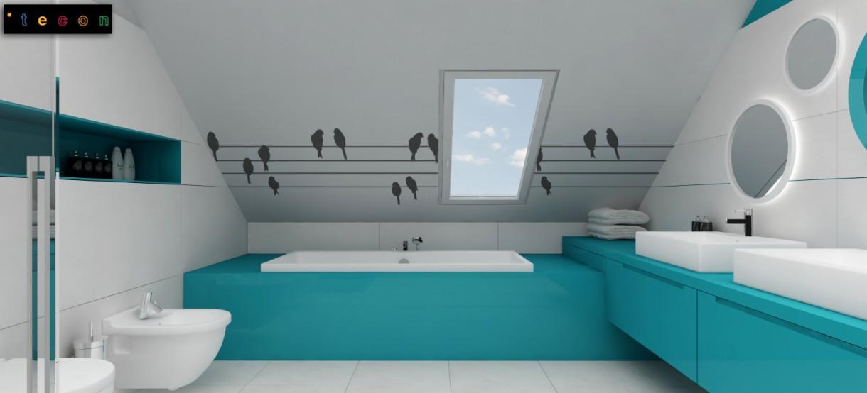Zdjęcie 13 W Aranżacji Turkusowa łazienka Dla Dziecka