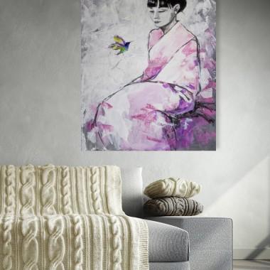 """Obraz """"Tu i teraz"""" wykonany farbami akrylowymi na płótnie o wymiarach 100x70cm. Obraz naciągnięty na blejtram, sygnowany."""