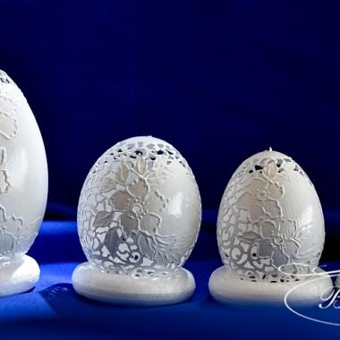 Ażurowe pisanki inspirowane koronkami haftu weneckiego - jajka gęsie  i kurze - Bogusława Justyna Goleń
