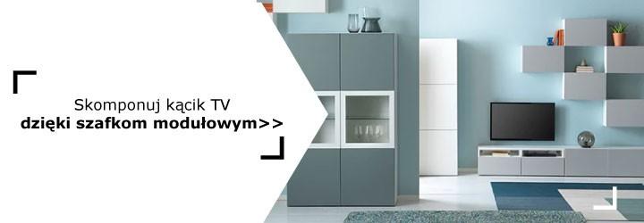 ALT: ściana z telewizorem – kompozycja z szafek modułowych