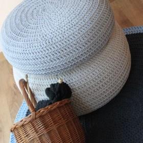 Pufy, poduszki, dywany robione ręcznie z bawełnianego sznurka