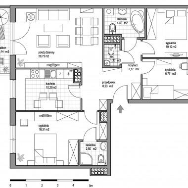Aranżacja mieszkania 85,21 m2