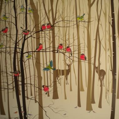 Kuchnia/Salon - grafika z lasem  w stylu skandynawskim