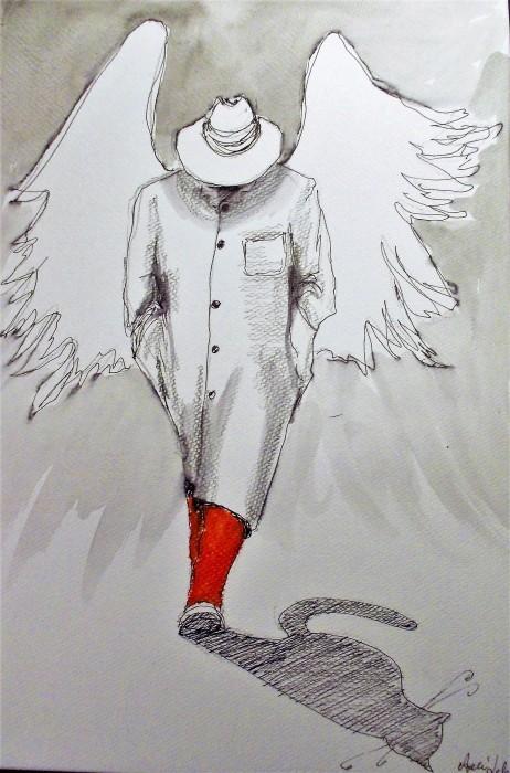 """Sprzedam, """"ANIOŁY"""" akwarele artystki plastyka Adriany Laube - """"Kot cieniem anioła"""""""