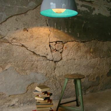 SZARO TURKUSOWA LAMPA NAD STÓŁ