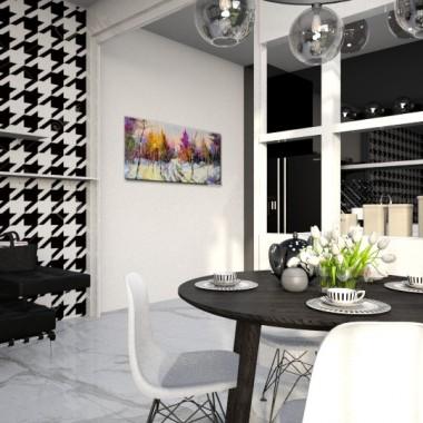 Aranżacja Kuchni, kolory dominujące biel i czerń.
